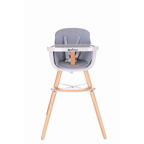 JOYA | Chaise haute évolutive 2en1 bébé enfant style scandinave | Pieds bois + Siège en simili-cuir lavable + Repose pieds - Gris