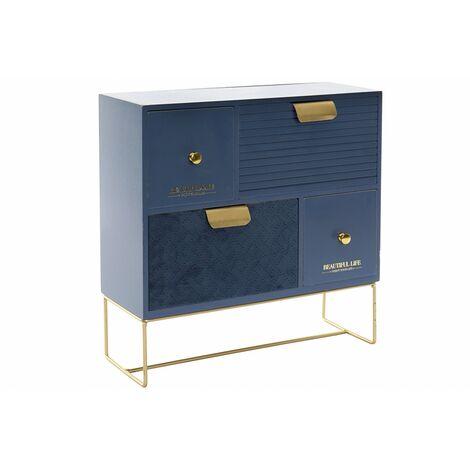 Joyero Azul de Madera/Terciopelo. 4 Cajones con Base para Pulseras, Collares, Anillos 30x11x30 cm