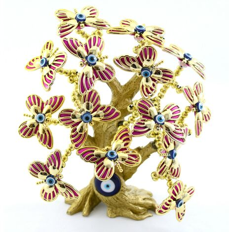 Joyero con forma de árbol y mariposas (25x22x16) Rosa