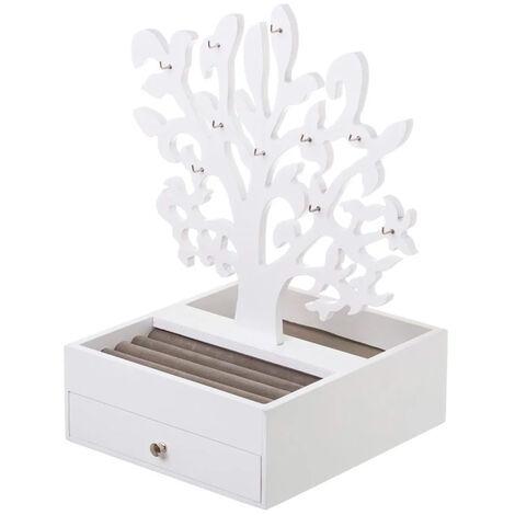 Joyero de madera blanco c/árbol colgador
