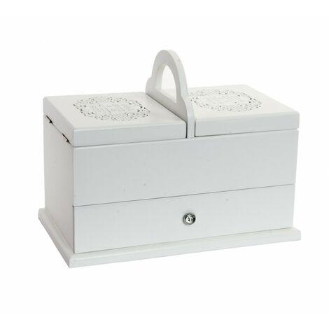 Joyero Vintage blanco practico de madera natural y cristal con 3 compartimentos y asa Sweet Home - Hogar y Mas
