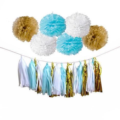 Joyeux anniversaire ensemble bricolage papier de soie pompon gland guirlande décor à suspendre (bleu)