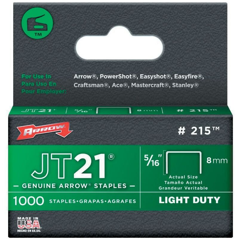 Image of Arrow Fastening 215 Staples 5/16' - 8MM - (Box of 1000)