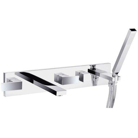 JTP Athena 5-Hole Bath Shower Mixer Tap Wall Mounted - Chrome