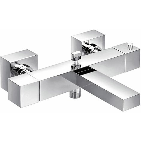 JTP Athena Square Wall Mounted Thermostatic Bath Shower Mixer Tap - Chrome