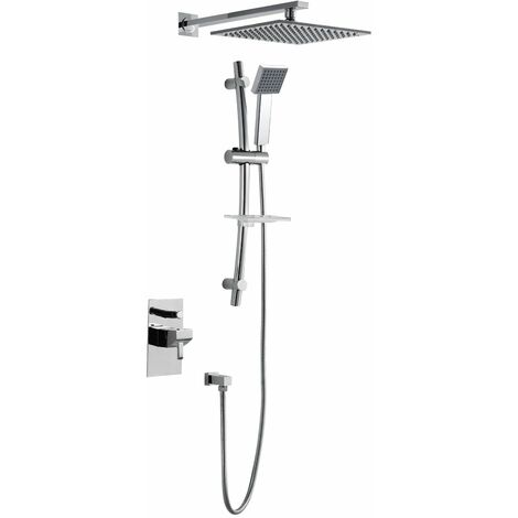 """main image of """"JTP Carlo Concealed Shower Adjustable Riser Kit with Fixed Head - Chrome"""""""