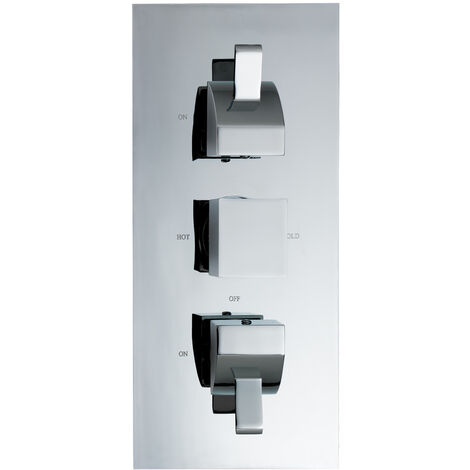 JTP Carlo Thermostatic Concealed Shower Valve with 2-Way Diverter Triple Handle - Chrome
