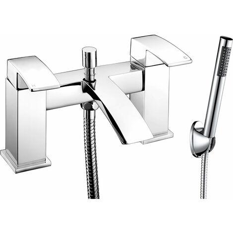 JTP Dash Lever Deck Mounted Bath Shower Mixer Tap with Kit - Chrome
