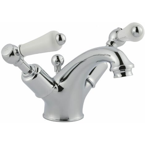 JTP Grosvenor Basin Mixer Tap with Pop Up Waste Lever Handle - Chrome
