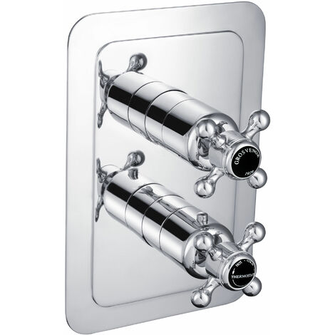 JTP Grosvenor Cross Thermostatic Concealed 1 Outlet Shower Valve - Chrome/Black