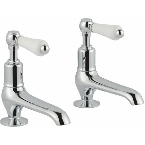 JTP Grosvenor Long Nose Basin Taps Pair Lever Handle - Chrome