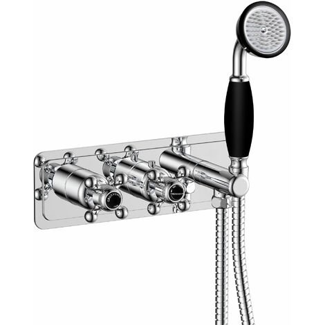 JTP Grosvenor Thermostatic Concealed Shower Valve Dual Cross Handle with Handset - Chrome/Black