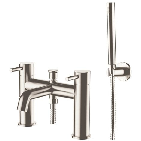 JTP Inox Deck Mounted Bath Shower Mixer Tap with Kit - Stainless Steel