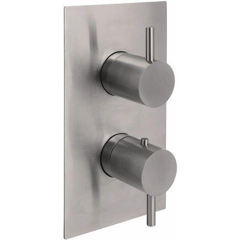 JTP Inox Thermostatic Concealed 2 Outlets Shower Valve Dual Handle - Stainless Steel