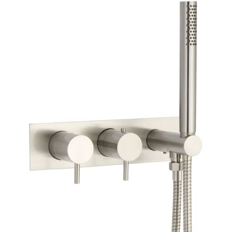 JTP Inox Wall Mounted Bath Shower Mixer with Hose Attachment - Stainless Steel