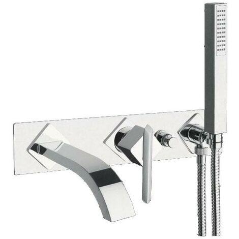 JTP Ki-Tech 3-Hole Bath Shower Mixer Tap Wall Mounted - Chrome