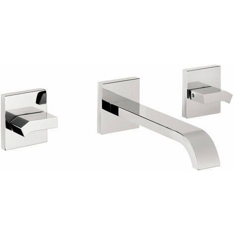 JTP Leo 3-Hole Basin Spout and Stop Valves, Wall Mounted, Chrome