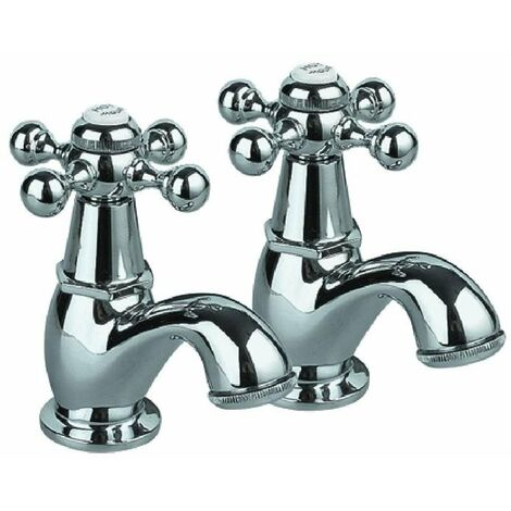 """main image of """"JTP Queens Traditional Bath Taps Pair - Chrome"""""""