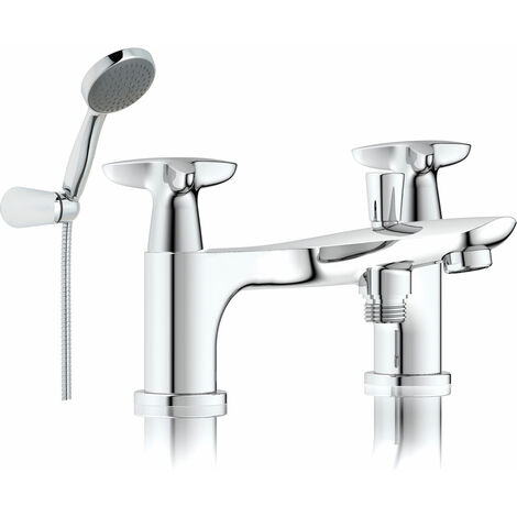 JTP Space Deck Mounted Bath Shower Mixer Tap with Kit - Chrome