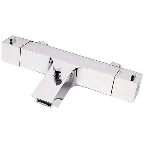 JTP Square Deck Mounted Thermostatic Bath Shower Mixer Tap without Kit - Chrome