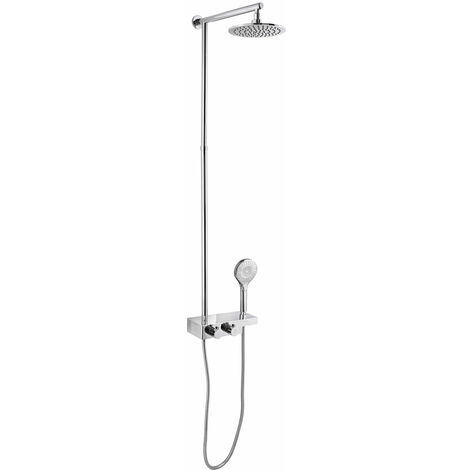 JTP Thermostatic Shower Pole with Fixed Shower Head and Shower Handset- Chrome