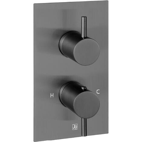 JTP Vos Thermostatic Concealed 1 Outlet Shower Valve - Brushed Black