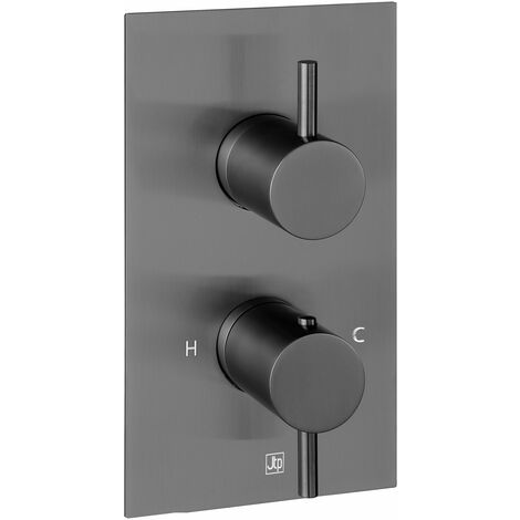 JTP Vos Thermostatic Concealed 2 Outlets Shower Valve - Brushed Black