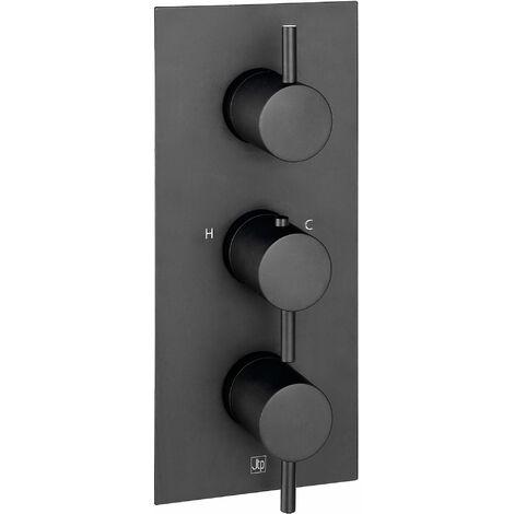 JTP Vos Vertical Thermostatic Concealed 3 Outlets Shower Valve - Matt Black