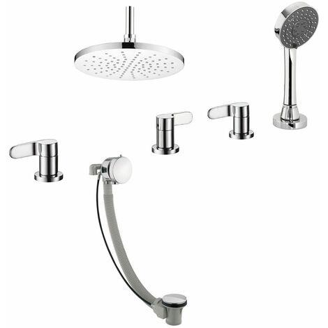 JTP Vue 4-Hole Bath Shower Mixer Tap & Exofil Deck Mounted - Chrome