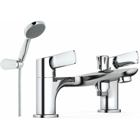 JTP Yatin Deck Mounted Bath Shower Mixer Tap with Kit - Chrome