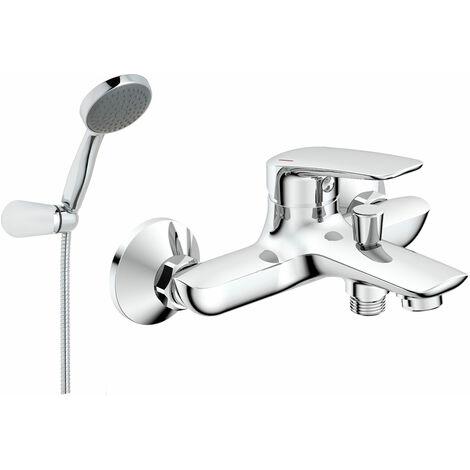 JTP Yatin Wall Mounted Bath Shower Mixer Tap with Kit - Chrome