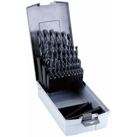 Juego 25 Brocas 1-13mm. HSS para metal DIN 338 . En Caja De Plástico Duro