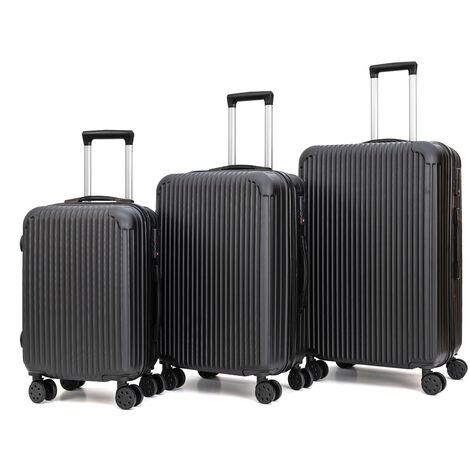 Juego 3 Maletas de Viaje Set Trolley ABS Semirigidas - Negras