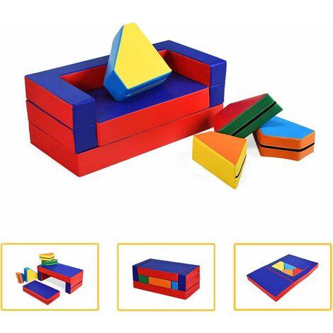 Juego 4 en 1 para Cuarto de Niños Sofá Suave 4 en 1 Muebles para Habitación Infantil Parte Sofá Cama