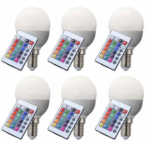 """main image of """"Juego 6 bombillas RGB LED E14 cambian color incandescente 4 vatios Lámpara de caída de 300 lm dimmer"""""""