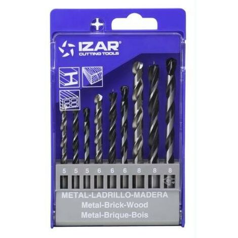 JUEGO 9 BROCAS PARED METAL MADERA 5-6-8MM.