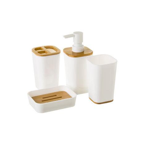 Juego Baño Dosificador Unimasa Bl Bambu Con Vaso 124106 4 Pz