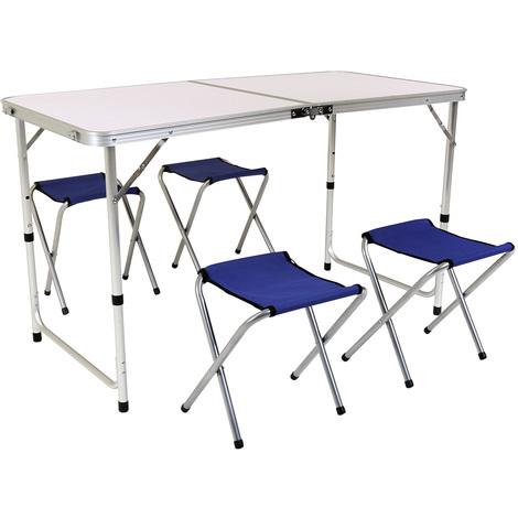 juego bentley de mesa de aluminio plegable con 4 sillas