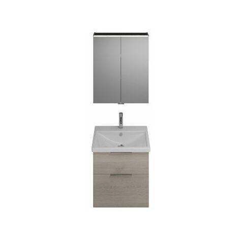 Juego Burgbad Eqio, SFAN065, compuesto de armario con espejo, lavabo de cerámica y mueble bajo lavabo, anchura: 650 mm, Color (frente/cuerpo): Decoración en franela de roble / Decoración en franela de roble, mango G0146 - SFAN065F2632G0146