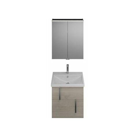 Juego Burgbad Eqio, SFAN065, compuesto de armario con espejo, lavabo de cerámica y mueble bajo lavabo, anchura: 650 mm, Color (frente/cuerpo): Roble franela / roble franela, mango cromado G0157 - SFAN065F2632G0157