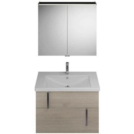 Juego Burgbad Eqio, SFAN093, compuesto de armario con espejo, lavabo de cerámica y mueble bajo lavabo, anchura: 930 mm, Color (frente/cuerpo): Roble franela / roble franela, mango cromado G0157 - SFAN093F2632G0157