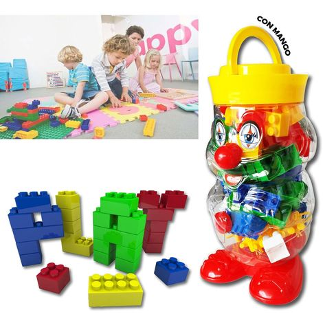 Juego construcción 56 piezas ladrillos colores en maletín forma payaso 105246