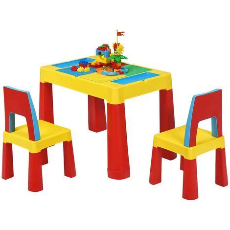 Juego de 1 Mesa y 2 Sillas para Niños Grupo de Asientos Muebles Mesa de Bloques de Construcción Mesa de Arena y Agua para Sala de niños Sala de Estar