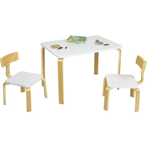 Juego de 1 Mesa y 2 Sillas para Niños Grupo de Mueble de Madera para Cuarto de los Niños Sala de Estar (Blanco)