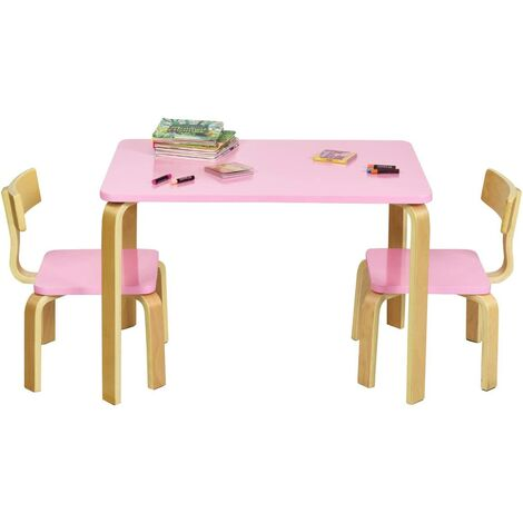 Juego de 1 Mesa y 2 Sillas para Niños Grupo de Mueble de Madera para Cuarto de los Niños Sala de Estar (Rosa)