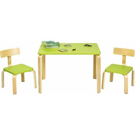 Juego de 1 Mesa y 2 Sillas para Niños Grupo de Mueble de Madera para Cuarto de los Niños Sala de Estar (Verde)