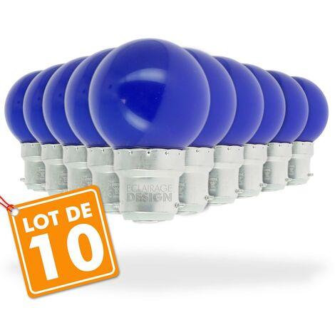 Juego de 10 bombillas LED azules de 1 vatio (equivalente a 10 vatios) Guinguette guirnalda