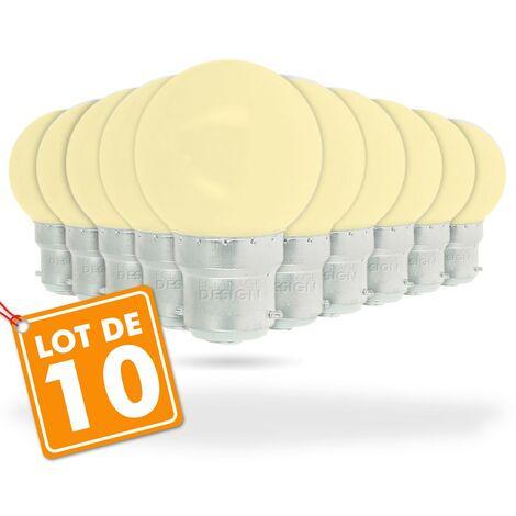 Juego de 10 bombillas LED blancas cálidas de 1 vatio (equivalente a 10 vatios) Guinguette Garland