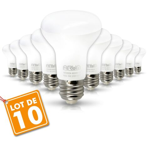 Juego de 10 bombillas LED de punto R63 E27 9W Eq 60W