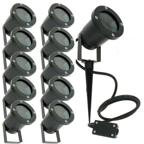 Juego de 10 focos de estaca para exteriores para iluminación de jardín LED GU10